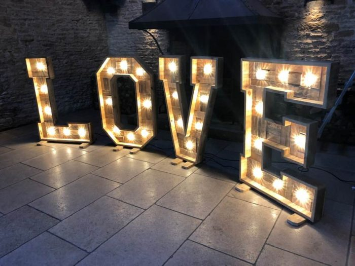 Light Up Love Letter Hire Gloucestershire